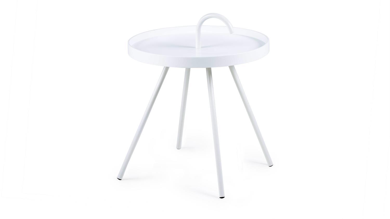 Beistelltisch Rund Weiß Klein : Beistelltisch MICO Couchtisch Holz rund weiß lackiert Ø 51cm