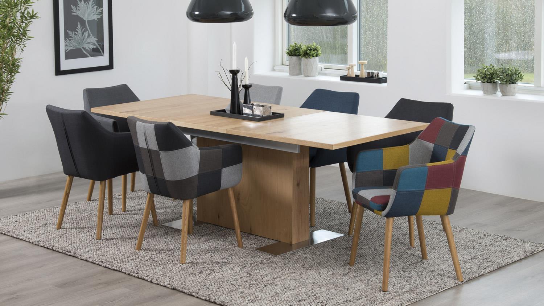 Stuhl NORA Armlehnstuhl Sessel In Stoff Patchwork Grau Eiche