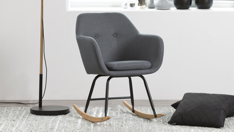 schaukelstuhl emilia schwingstuhl dunkelgrau metall schwarz. Black Bedroom Furniture Sets. Home Design Ideas