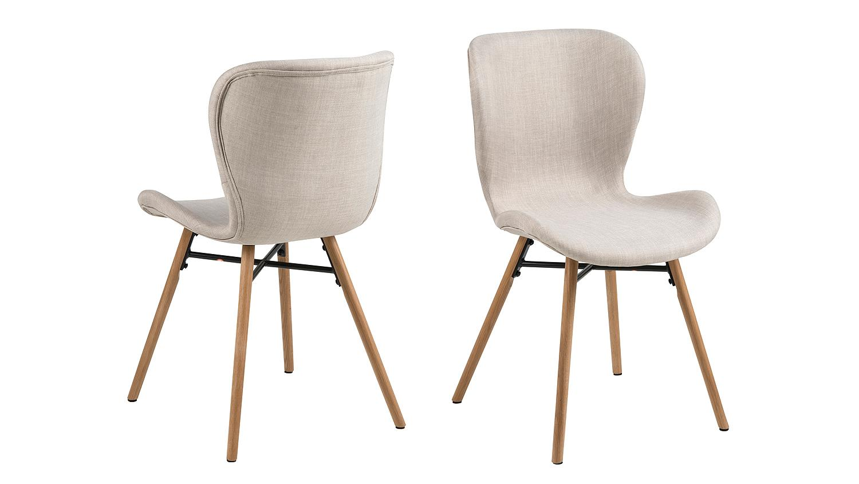 Beige Stühle batilda 2er set bezug in stoff sand gestell eiche massivholz