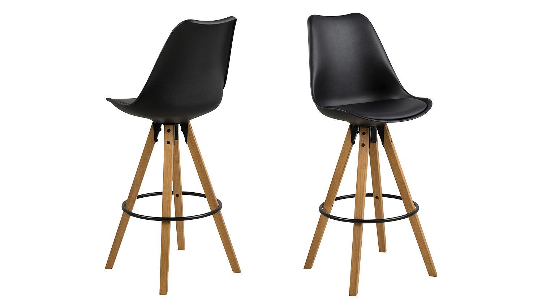 barhocker dima 2er set in schwarz gestell eiche massiv gebeizt ge lt. Black Bedroom Furniture Sets. Home Design Ideas