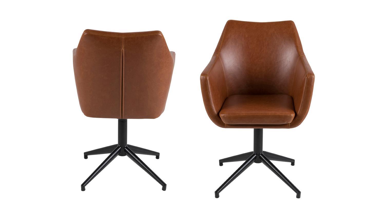 stuhl nora armlehnstuhl sessel in vintage cognac braun drehgestell. Black Bedroom Furniture Sets. Home Design Ideas