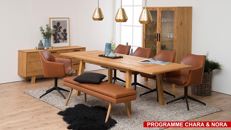 bank nora polsterbank sitzbank in vintage cognac braun und eiche ge lt. Black Bedroom Furniture Sets. Home Design Ideas