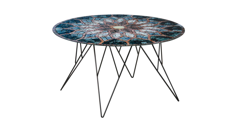 Couchtisch Prunus Wohnzimmertisch Tisch Glas Mosaik Print Schwarz 80