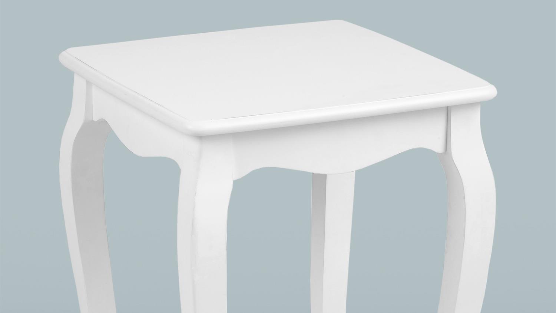 ecktisch carikko beistelltisch couchtisch wei lack antiklook 40x40. Black Bedroom Furniture Sets. Home Design Ideas