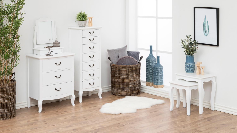 couchtischsatz carikko couchtisch 2er set in wei lack im antiklook. Black Bedroom Furniture Sets. Home Design Ideas