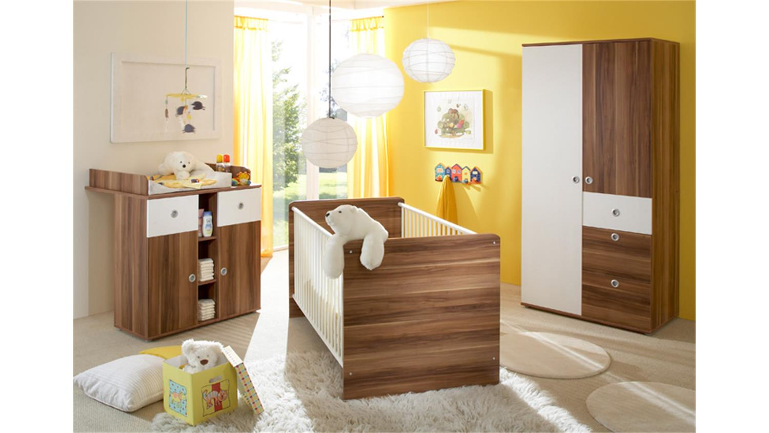 babybett wiki babyzimmer gitterbett bett walnuss und wei. Black Bedroom Furniture Sets. Home Design Ideas