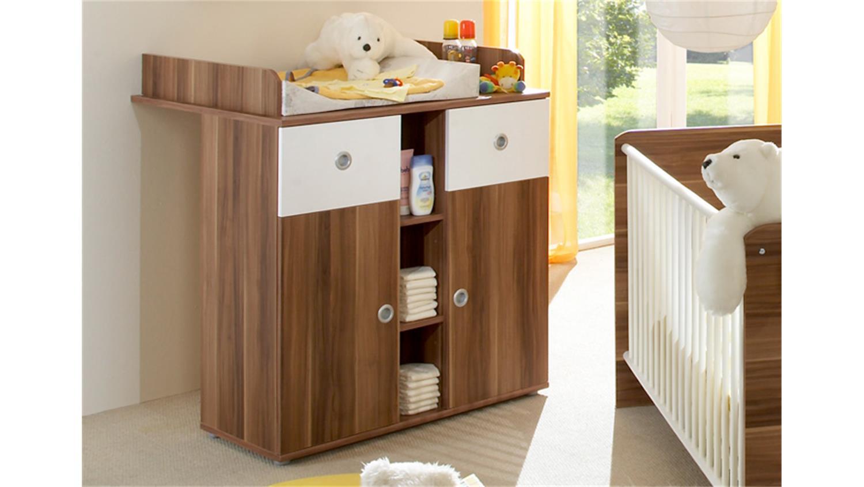 babyzimmer wiki 3 teilig in walnuss und wei. Black Bedroom Furniture Sets. Home Design Ideas