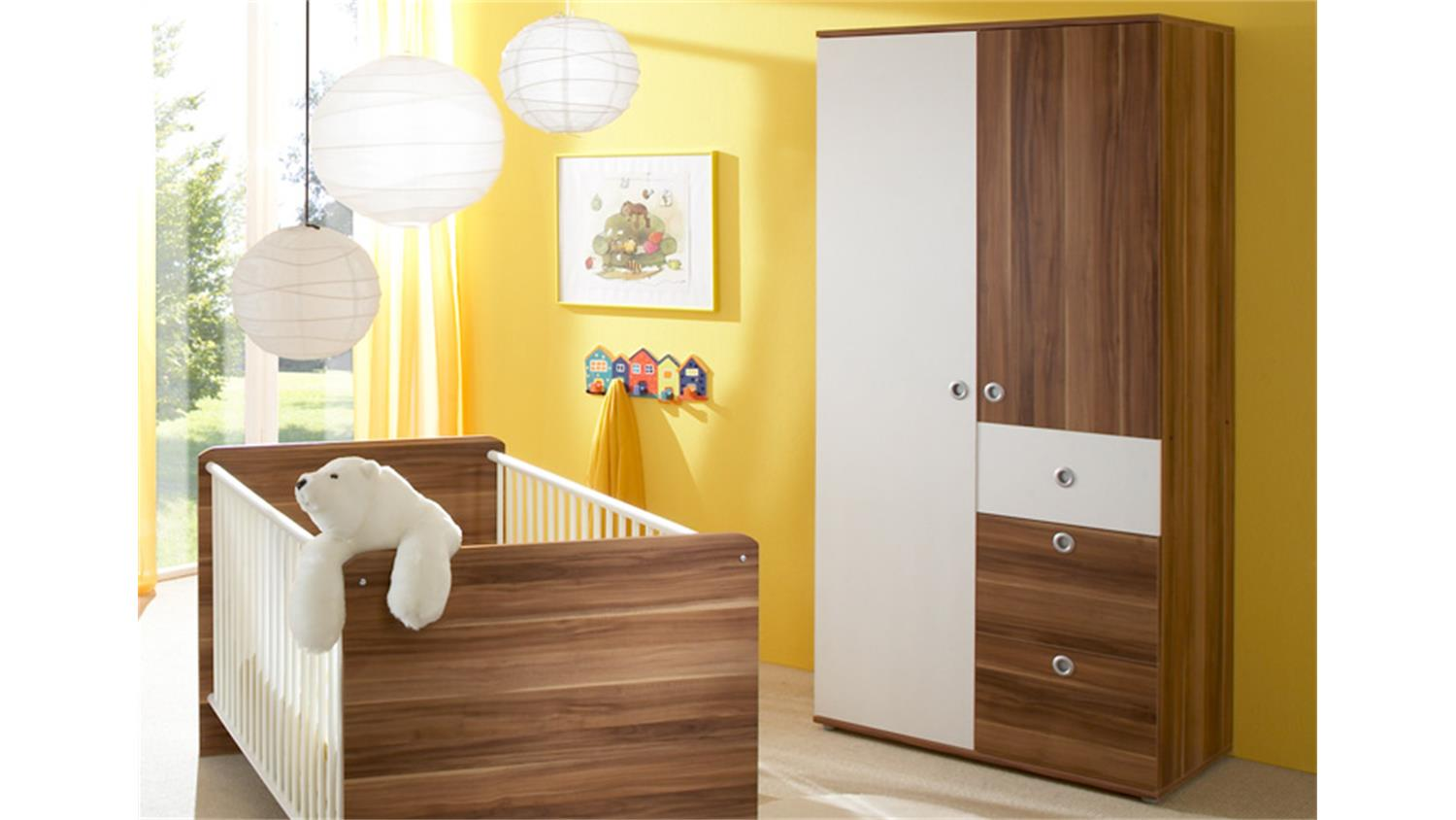 babyzimmer wiki 3 teilig in walnuss und wei. Black Bedroom Furniture Sets. Home Design Ideas