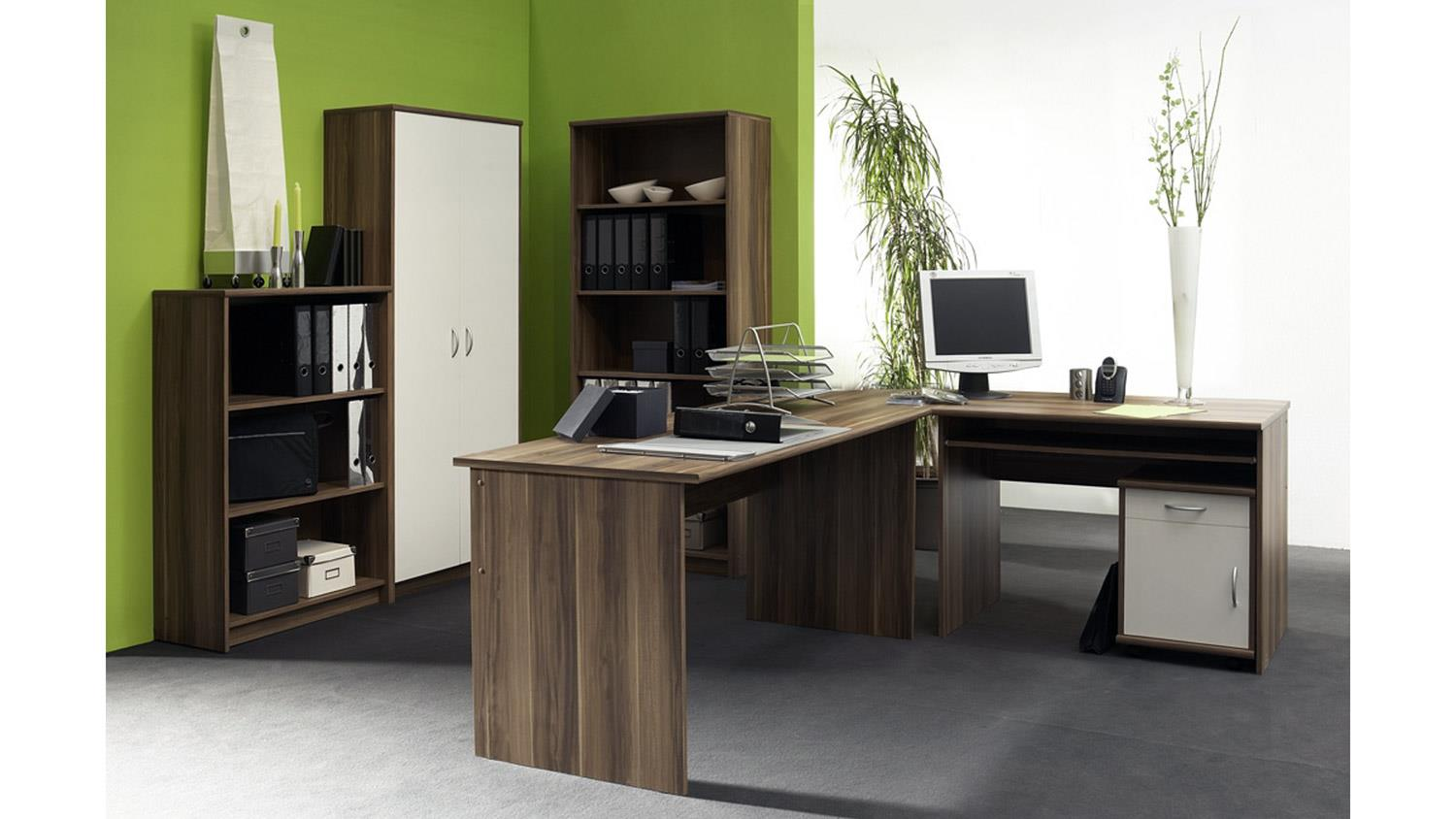 b ro office compact 5 teiliges set in walnuss und wei. Black Bedroom Furniture Sets. Home Design Ideas