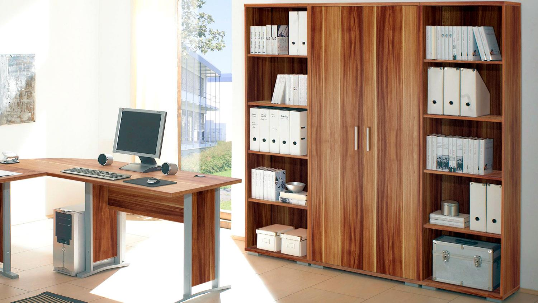 OFFICE LINE Arbeitszimmer Walnuss Schreibtisch Aktenregal