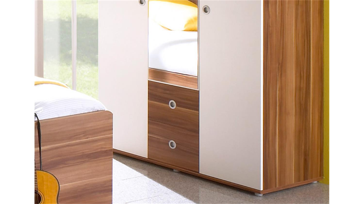 kleiderschrank wiki 3 t riger schrank in walnuss und wei. Black Bedroom Furniture Sets. Home Design Ideas