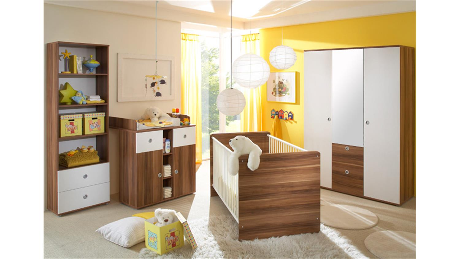 babyzimmer wiki 4 teilig walnuss und wei. Black Bedroom Furniture Sets. Home Design Ideas