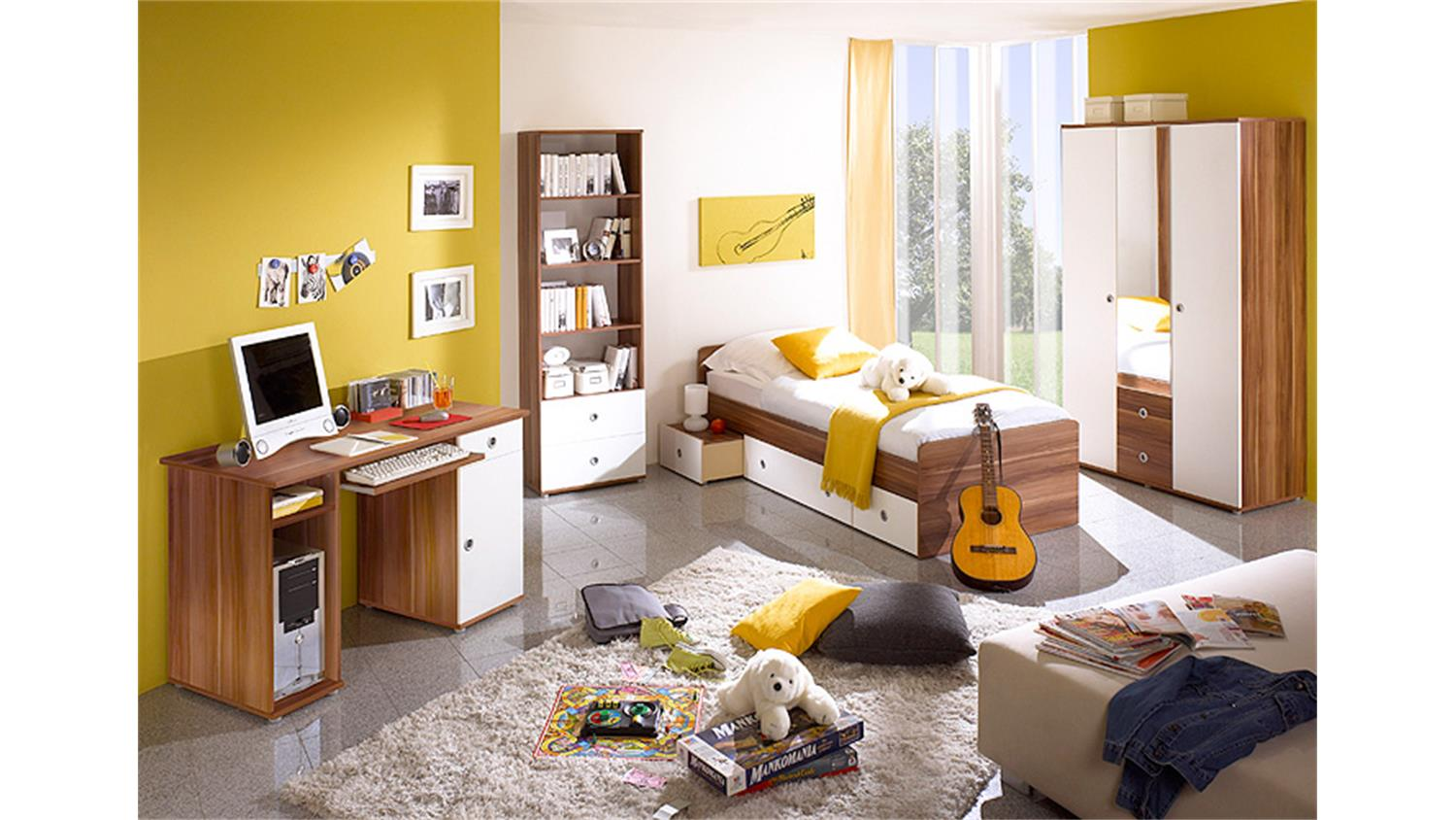 jugendzimmer wiki kinderzimmer 7 teilig walnuss und wei. Black Bedroom Furniture Sets. Home Design Ideas