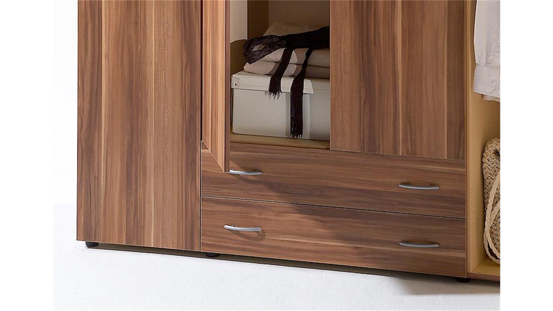 kleiderschrank cayo schrank walnuss 4 t rig 2 schubk sten. Black Bedroom Furniture Sets. Home Design Ideas