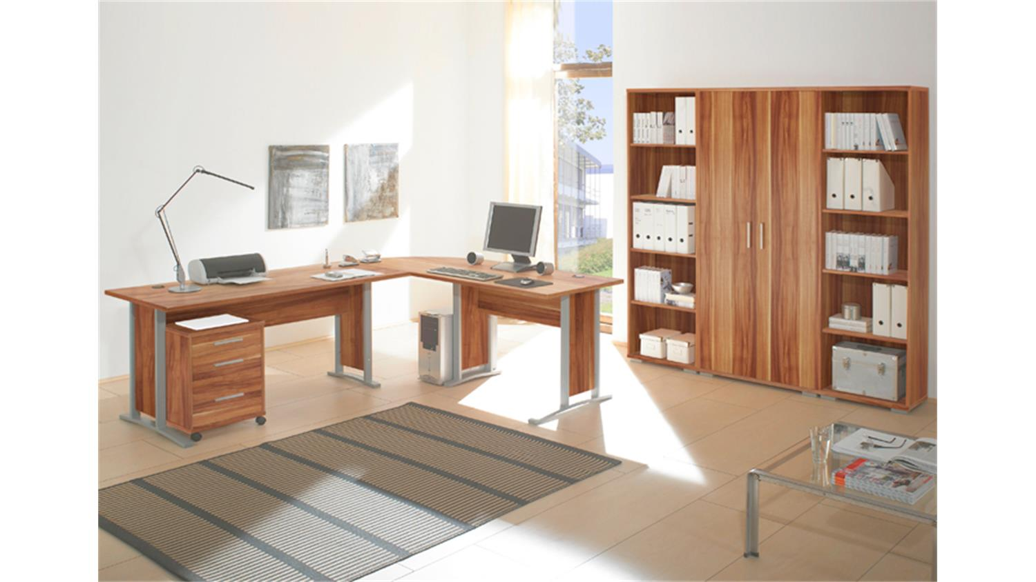 winkelschreibtisch office line biz walnuss. Black Bedroom Furniture Sets. Home Design Ideas