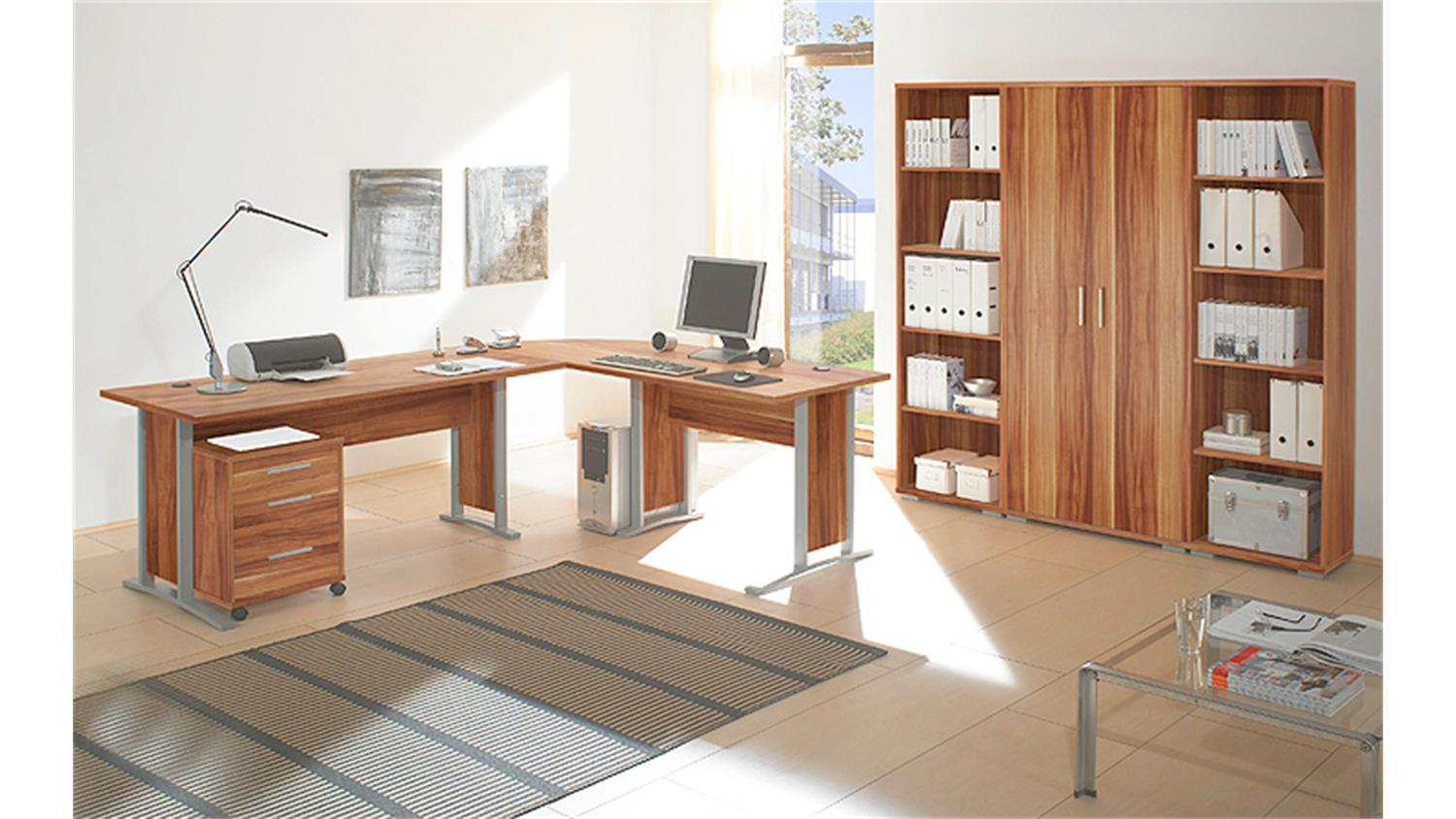 regalwand office line biz regal schrank in walnuss dekor. Black Bedroom Furniture Sets. Home Design Ideas