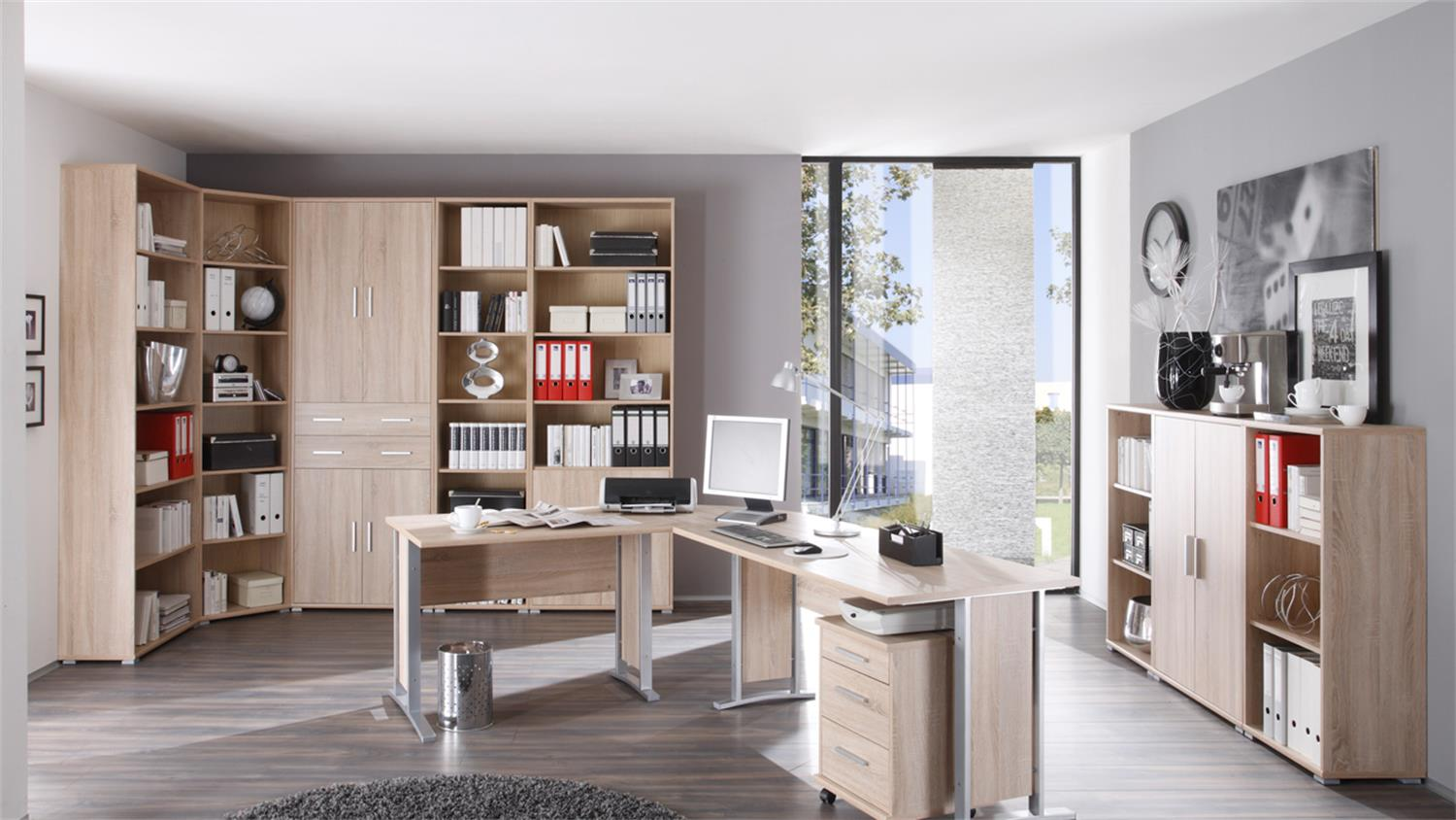 regal office line eiche sonoma s gerau offen b 79. Black Bedroom Furniture Sets. Home Design Ideas