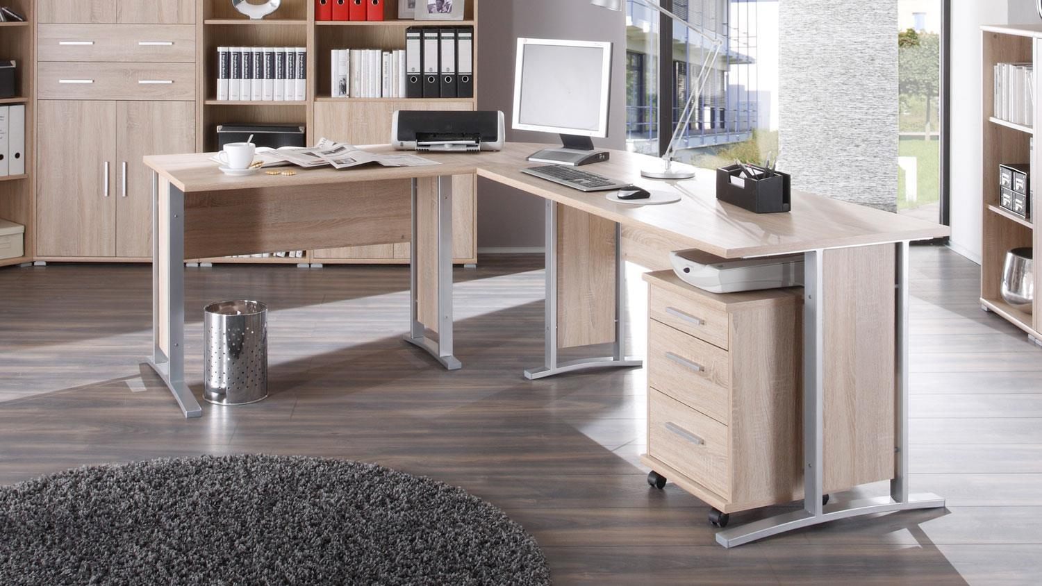 winkelschreibtisch b ro office line in sonoma eiche mit rollcontainer. Black Bedroom Furniture Sets. Home Design Ideas
