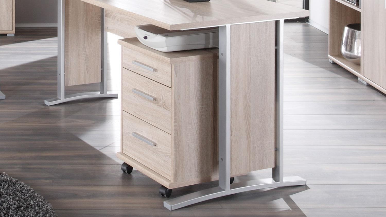 winkelschreibtisch office line mit rollcontainer in sonoma. Black Bedroom Furniture Sets. Home Design Ideas