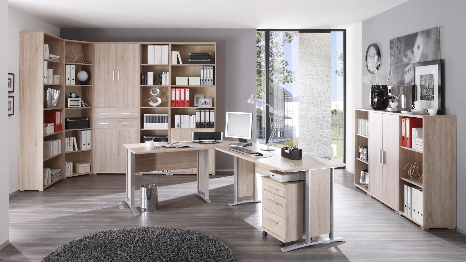 winkelschreibtisch office line mit rollcontainer in sonoma. Black Bedroom Furniture Sets. Home Design Ideas