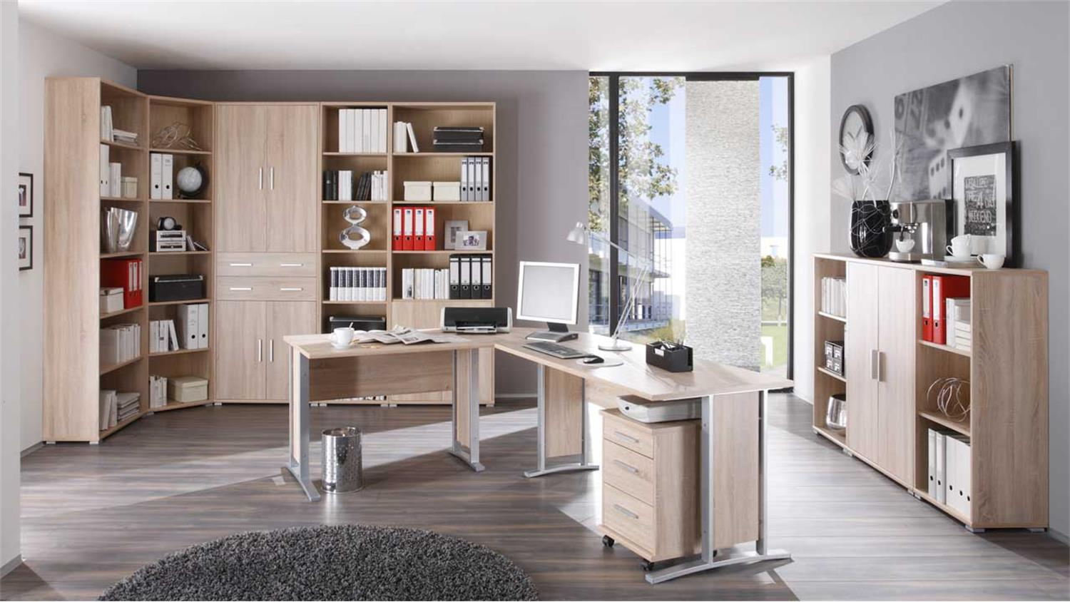 regal office line b cherregal in sonoma eiche mti 5 b den. Black Bedroom Furniture Sets. Home Design Ideas
