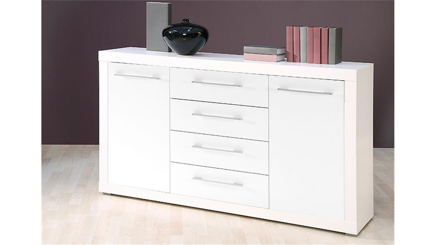 sideboard cube kommode in wei glanz dekor 155x88 cm. Black Bedroom Furniture Sets. Home Design Ideas