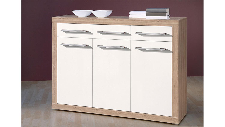 Küchenarbeitsplatte Holz Erfahrungen ~ Weiß Glanz Wohnzimmermöbel  Sideboard CABO Eiche Sonoma Sägerau
