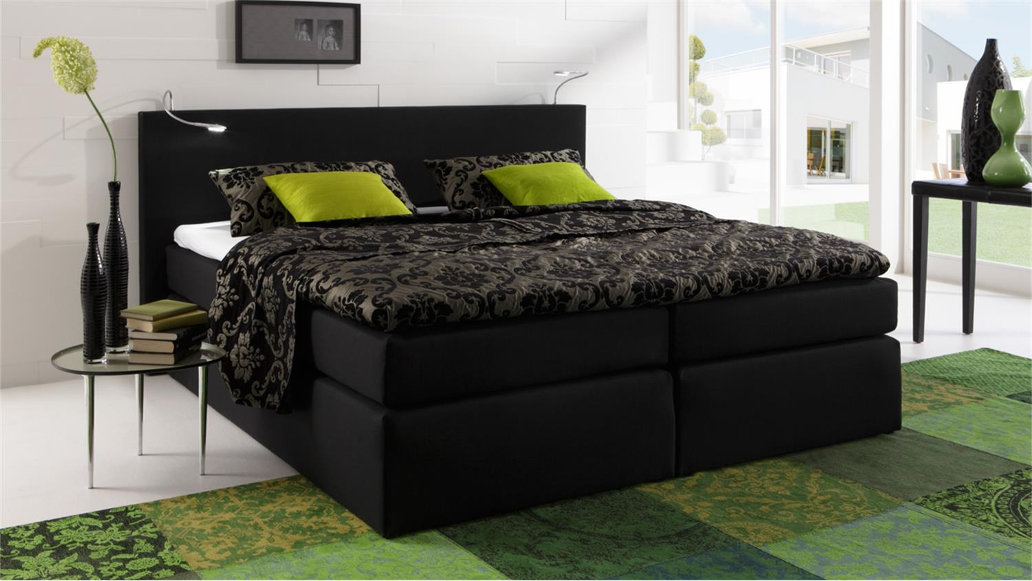 boxspringbett atlanta stoff schwarz 160x200 cm mit topper. Black Bedroom Furniture Sets. Home Design Ideas