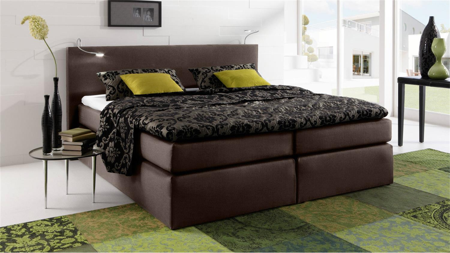 boxspringbett atlanta stoff braun 160x200 cm mit topper. Black Bedroom Furniture Sets. Home Design Ideas