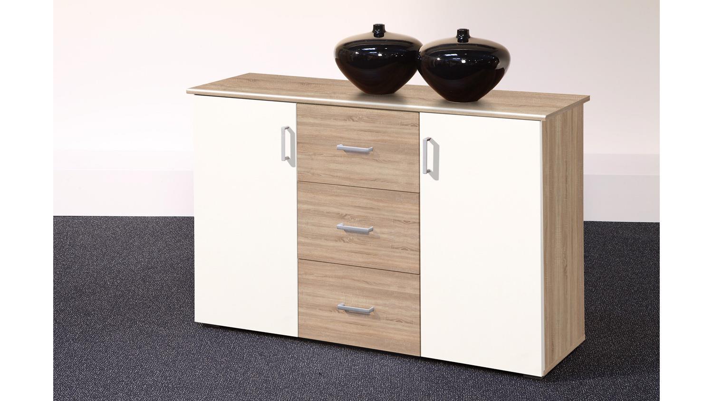 kommode lift sideboard in sonoma eiche und wei 120 cm. Black Bedroom Furniture Sets. Home Design Ideas