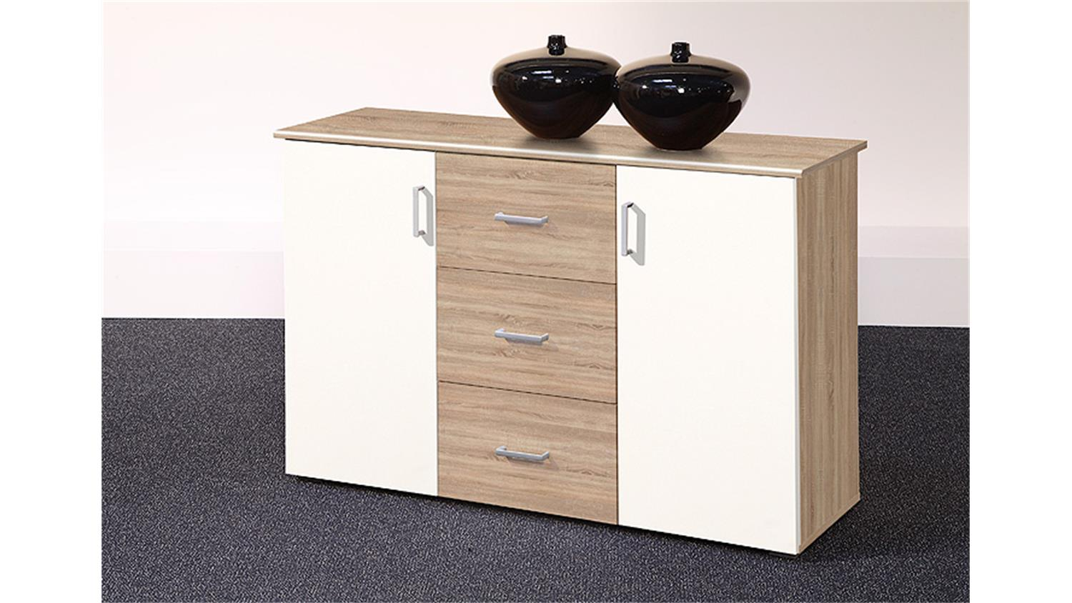 sideboard kommode lift in sonoma eiche und wei 2 t rig. Black Bedroom Furniture Sets. Home Design Ideas