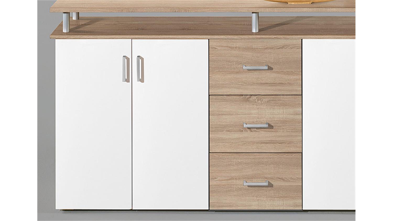 highboard lift kommode anrichte in sonoma eiche und wei. Black Bedroom Furniture Sets. Home Design Ideas