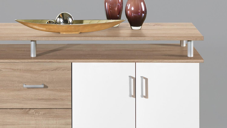 kommode lift in sonoma eiche und wei 4 t rig mit aufsatz. Black Bedroom Furniture Sets. Home Design Ideas