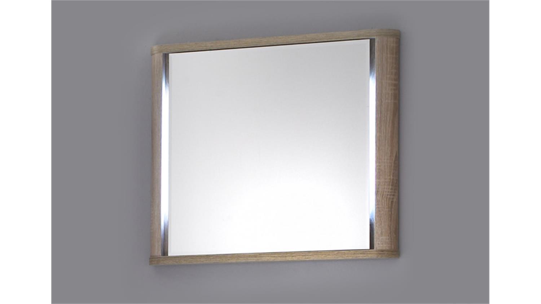 spiegel vital mit rahmen in sonoma eiche und beleuchtung 60x70. Black Bedroom Furniture Sets. Home Design Ideas