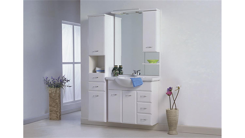 schrank lasko seitenschrank badezimmer in wei hochglanz. Black Bedroom Furniture Sets. Home Design Ideas