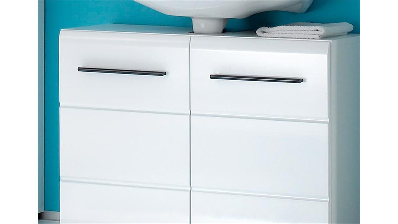 Waschbeckenunterschrank Fitness Bad Unterschrank weiß Glanz