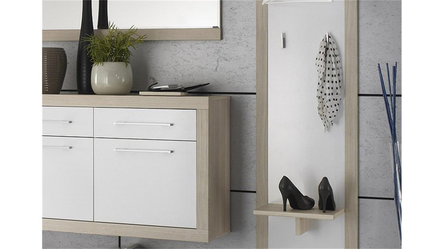 garderobe crema set 4 teilig in sonoma eiche s gerau und wei. Black Bedroom Furniture Sets. Home Design Ideas