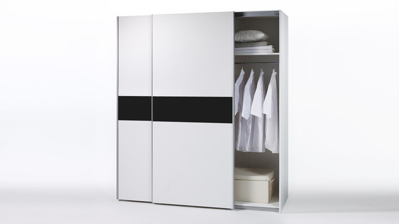 kleiderschrank victor schwebet renschrank wei schwarz. Black Bedroom Furniture Sets. Home Design Ideas
