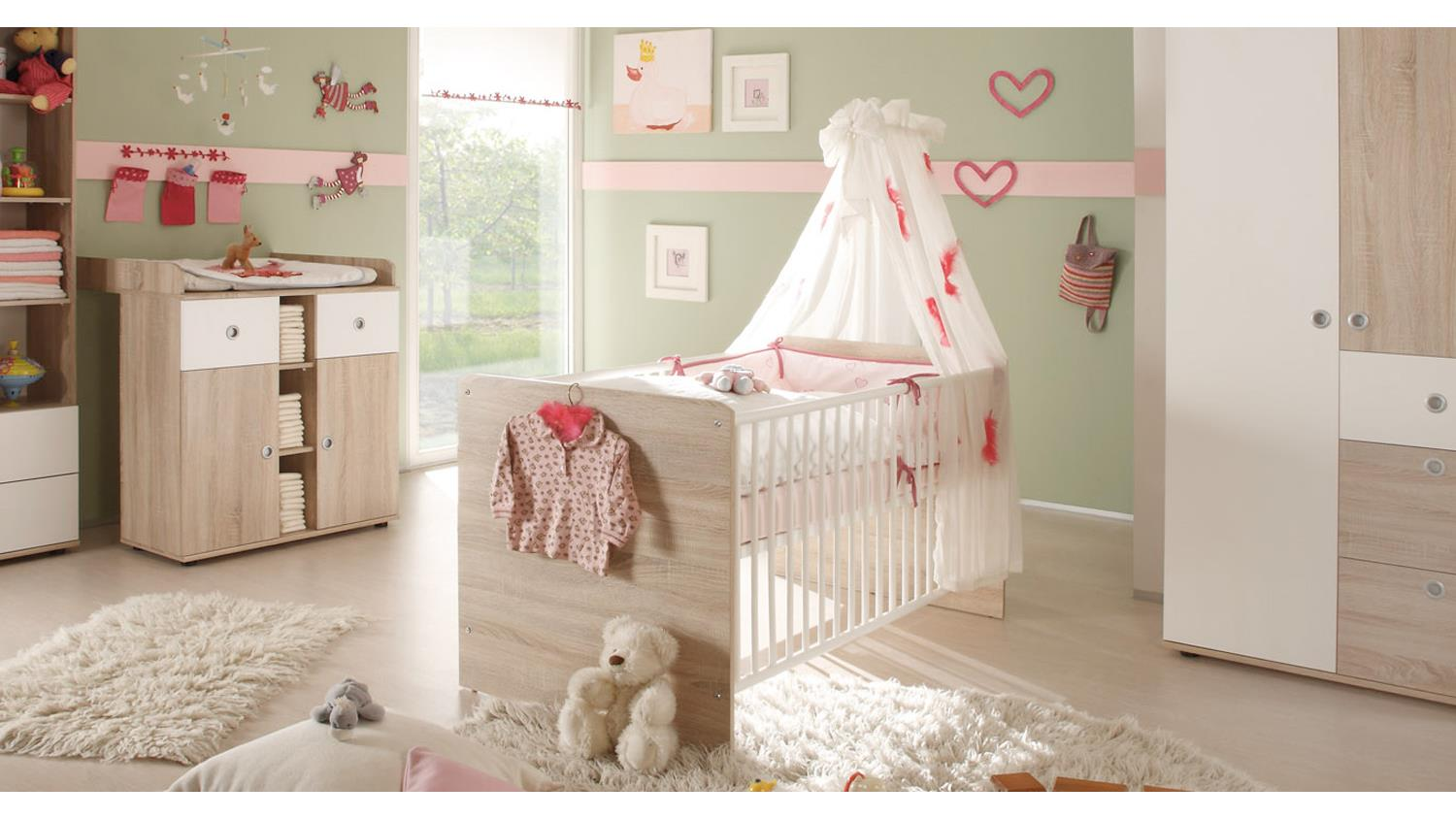 babybett wiki kinderbett in sonoma eiche s gerau und wei. Black Bedroom Furniture Sets. Home Design Ideas