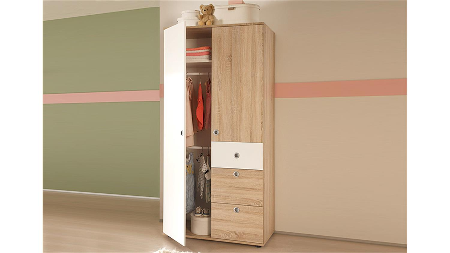 kleiderschrank wiki sonoma eiche nb wei 2 trg. Black Bedroom Furniture Sets. Home Design Ideas