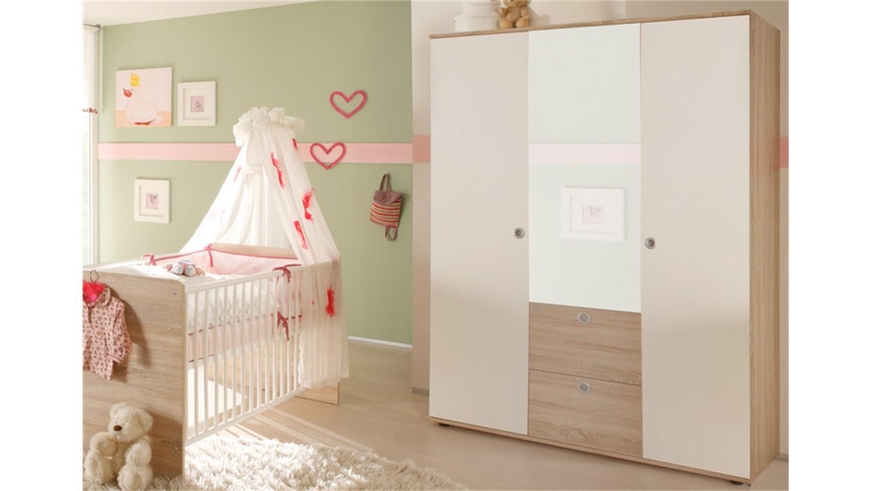 Kleiderschrank Kinderzimmer Wiki Eiche Sonoma weiß 3-türig