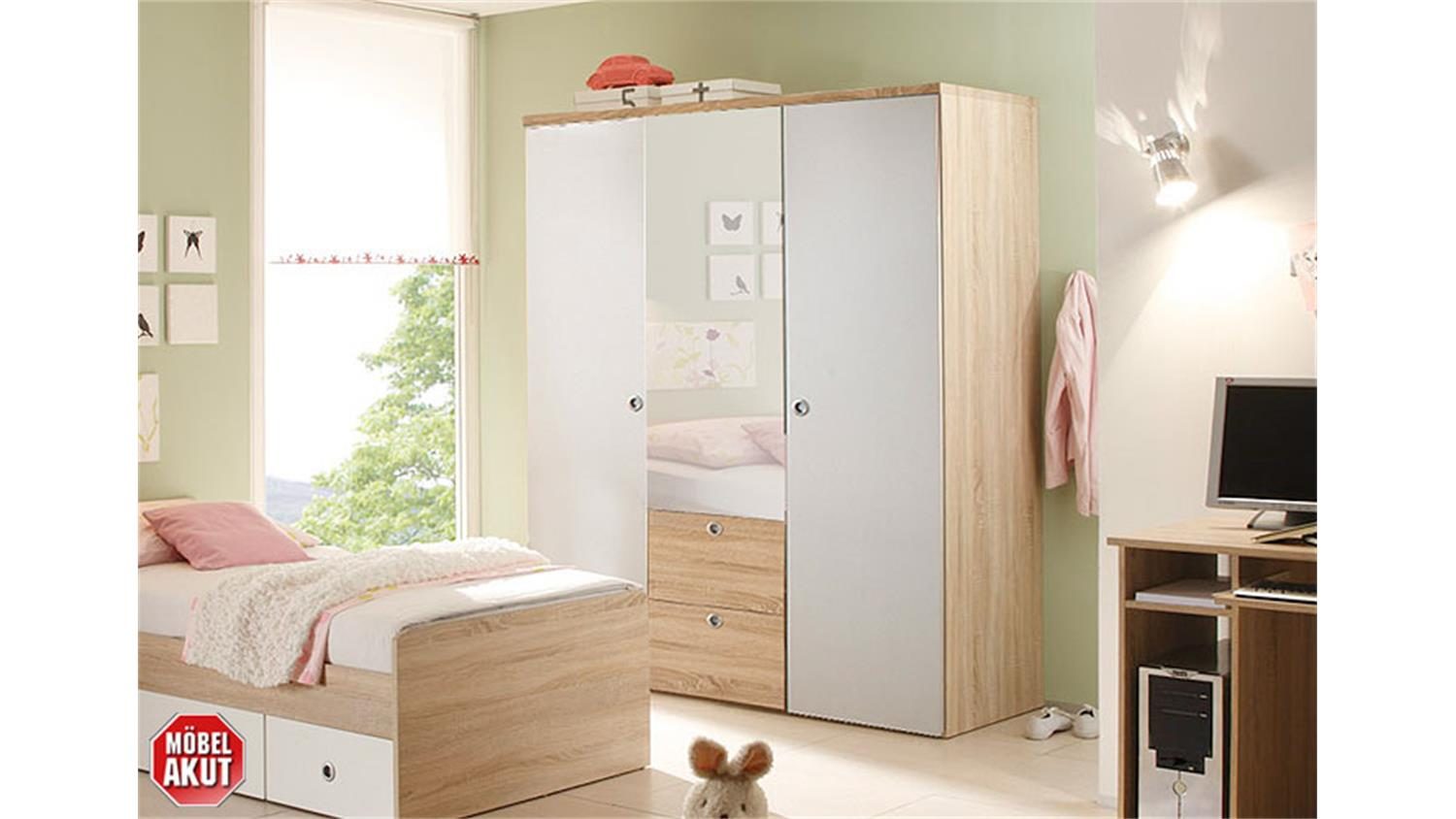 kleiderschrank kinderzimmer wiki eiche sonoma wei 3 t rig. Black Bedroom Furniture Sets. Home Design Ideas