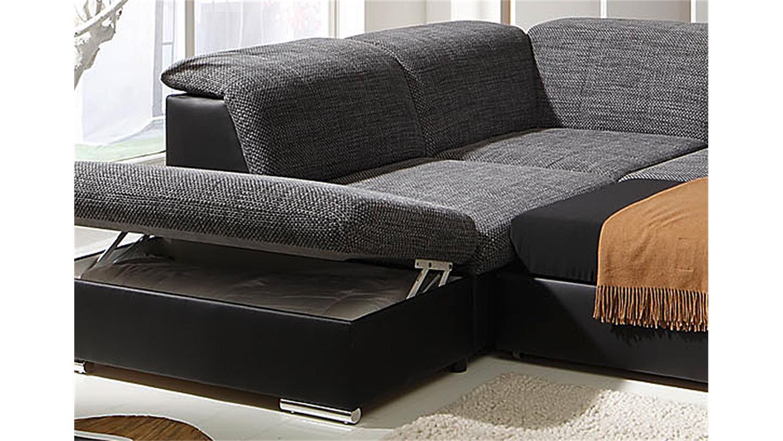 wohnlandschaft move 1 schwarz und grau inkl funktionen ot l. Black Bedroom Furniture Sets. Home Design Ideas