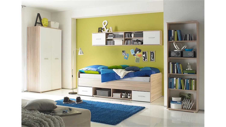 Jugendzimmermöbel set  Jugendzimmer Set NANU 4-teilig Sonoma Eiche sägerau und weiß