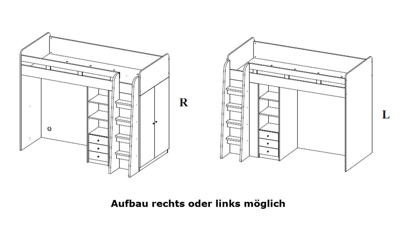 Hochbett Unit Sonoma Eiche Sagerau Und Weiss 90x200