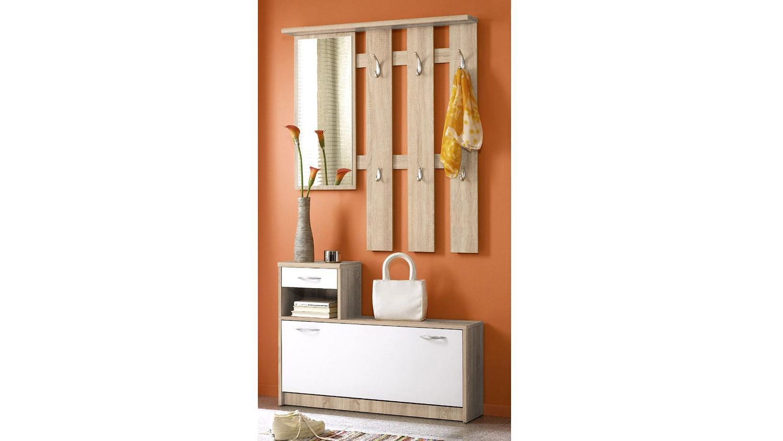 garderoben set petra in eiche sonoma und wei mit spiegel. Black Bedroom Furniture Sets. Home Design Ideas