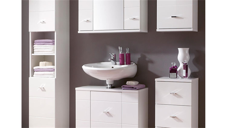 badezimmer morning 5 teilig wei hochglanz hochschrank spiegelschrank. Black Bedroom Furniture Sets. Home Design Ideas