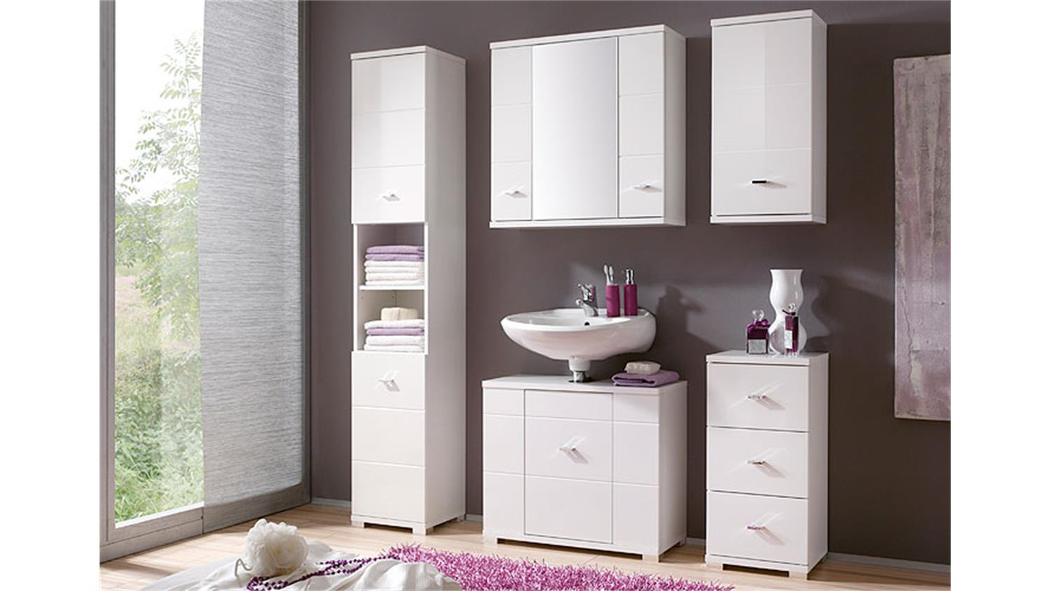 badezimmer morning 5 teilig wei hochglanz hochschrank spiegelschrank. Black Bedroom Furniture Sets. Home Design Ideas