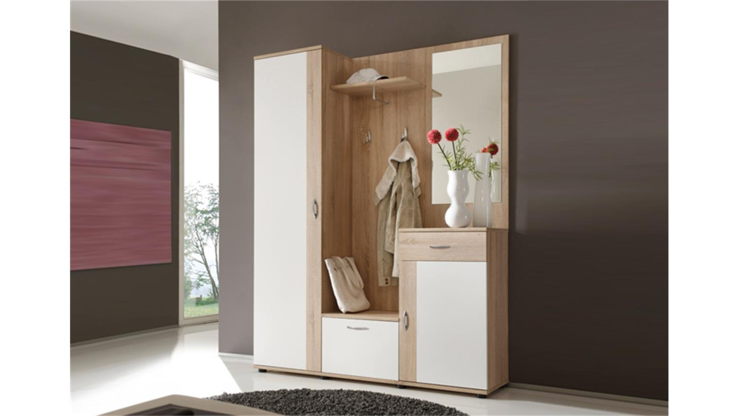 garderobe patent spiegel sonoma eiche und wei 3 teilig. Black Bedroom Furniture Sets. Home Design Ideas